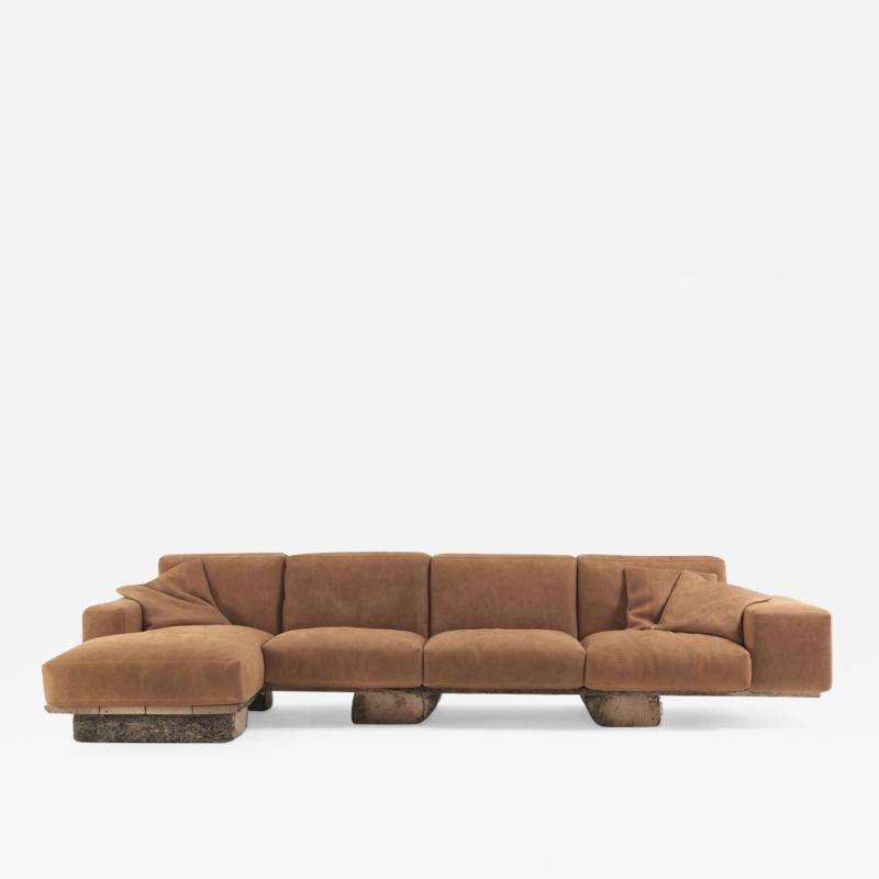 DESIGNLUSH SLABWOOD LEATHER RUSTIC SOFA
