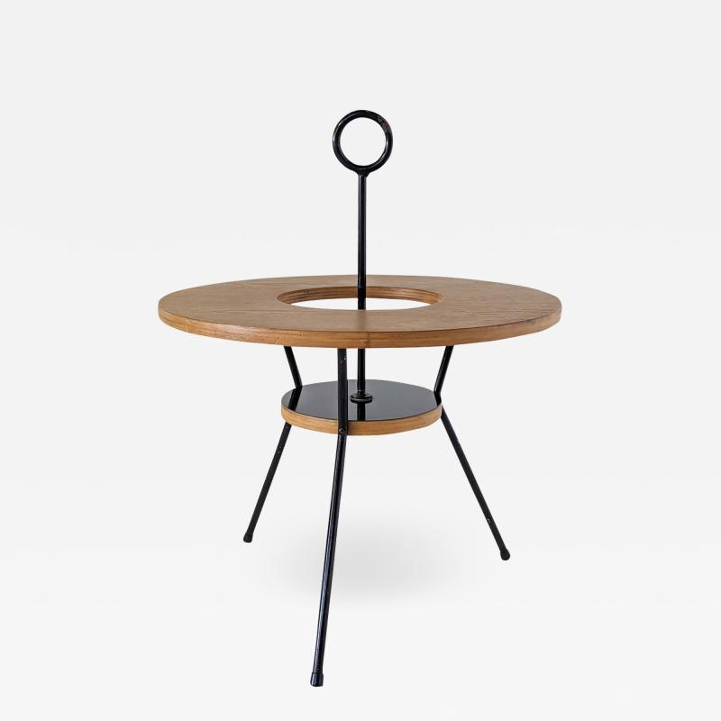 DUMAS PINGUET Pedestal table in black steel and oakwood by Dumas Pinguet circa 1950
