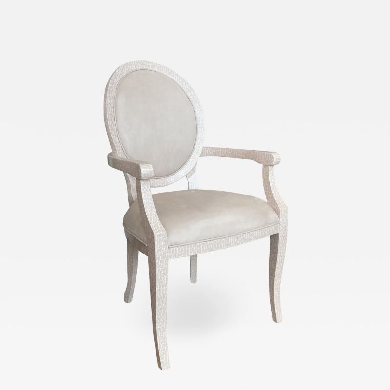 DWM MALOOS Post Modern Louis Arm Chair Pink Animo Camo Oval Back Custom