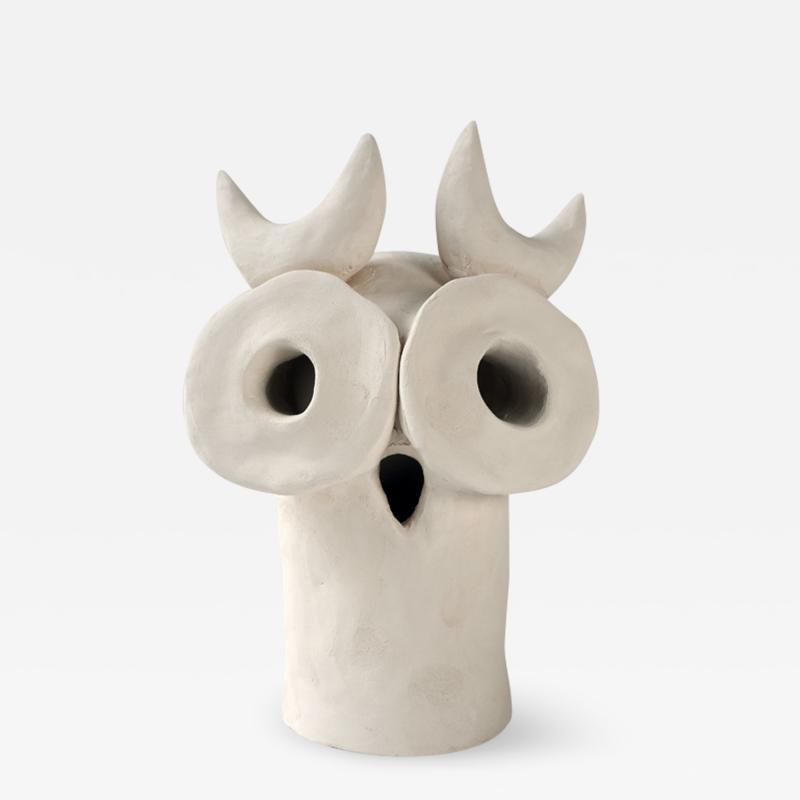 Dainche ARTHURO White ceramic owl sculpture