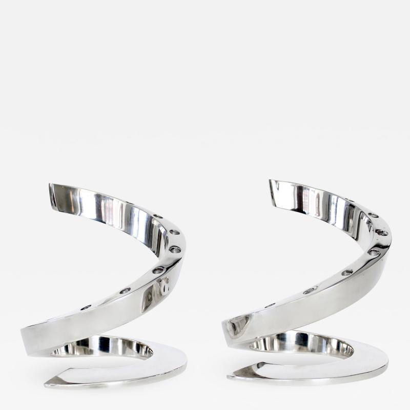 Dansk Dansk Silverplate Danish Modern Midcentury Spiral Candleholders