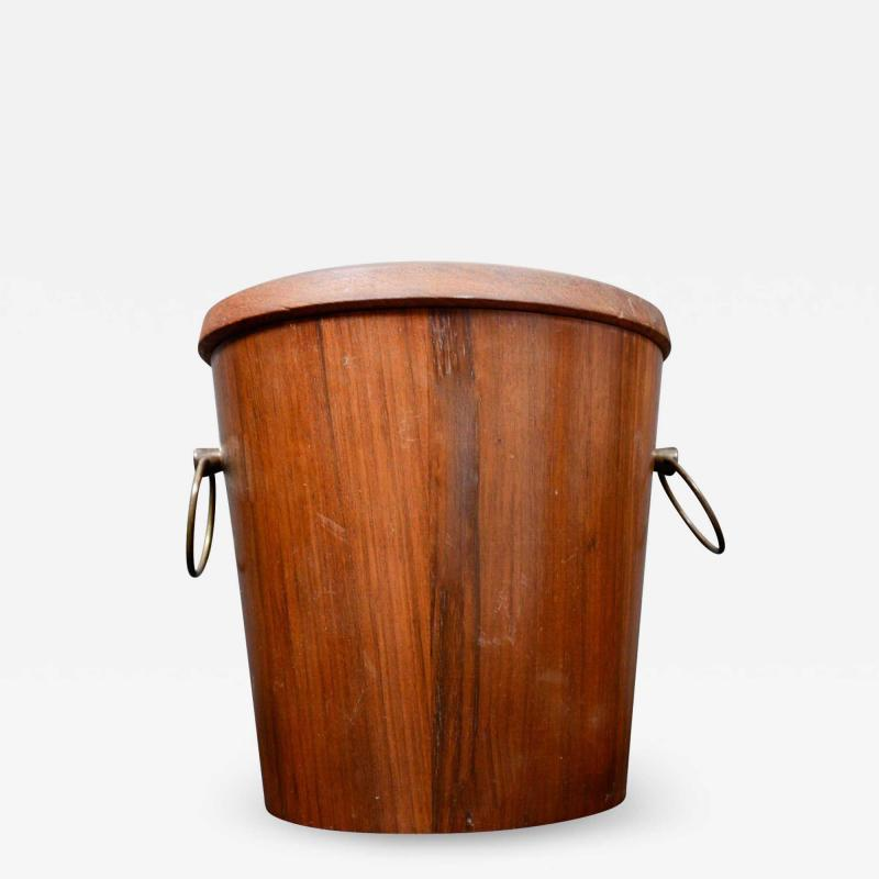 Dansk Mid Century Modern Walnut Wood Ice Bucket with Stainless Steel Tongs 1960s