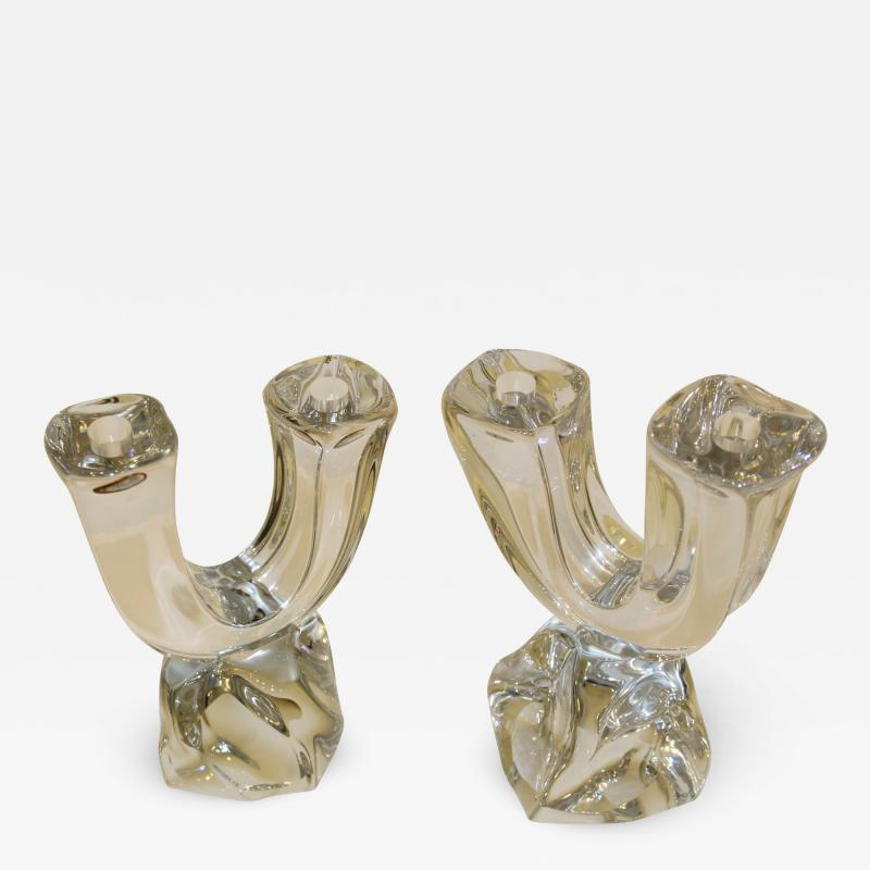 Daum Daum France Two Arm Crystal Candle Holders