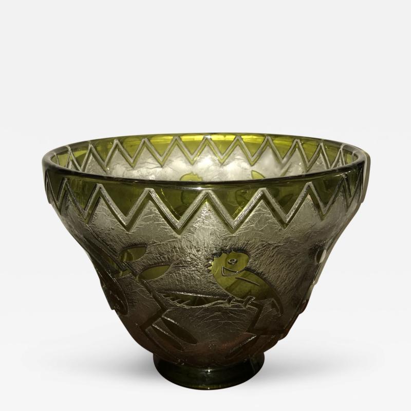 Daum Daum Nancy Bird Art Deco Acid Etched French Monumental Museum Glass