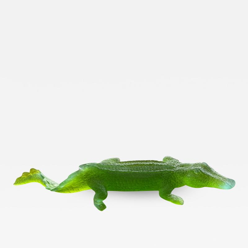 Daum French Art Deco Pate De Verre Alligator Sculpture Daum France
