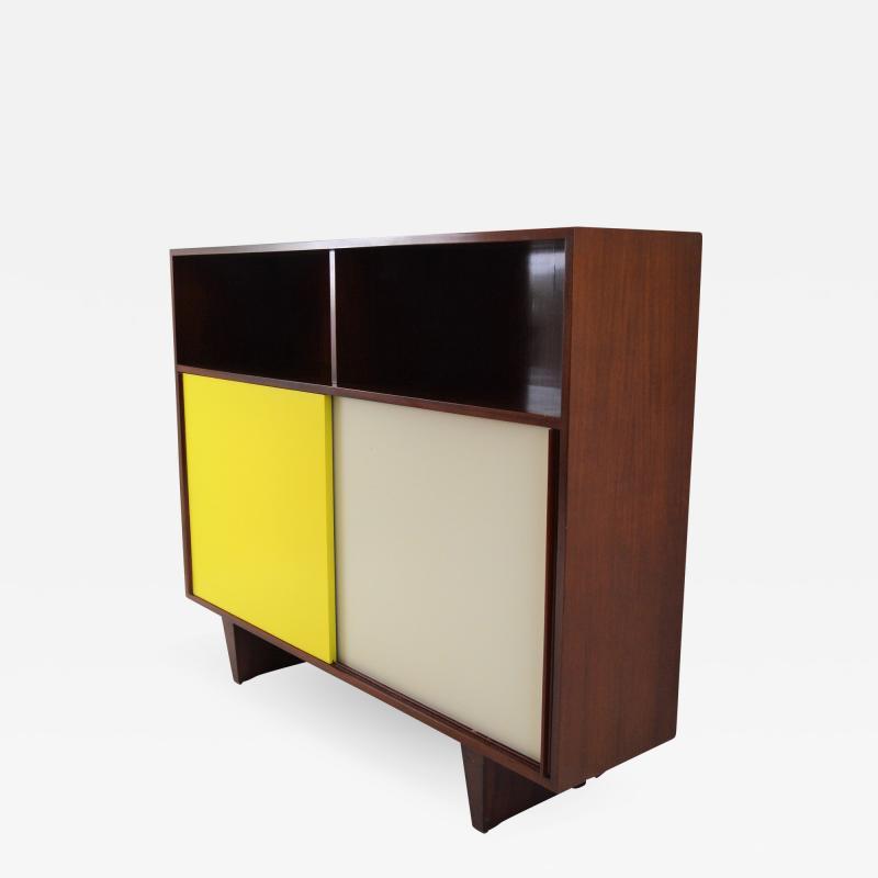 De Coene De Coene Mahogany Cabinet With Bookcase and Collored Sliding doors
