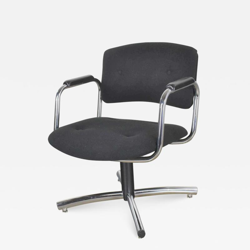 Delwood Furniture Co Vintage modern chrome black office armchair 4 prong base style steelcase