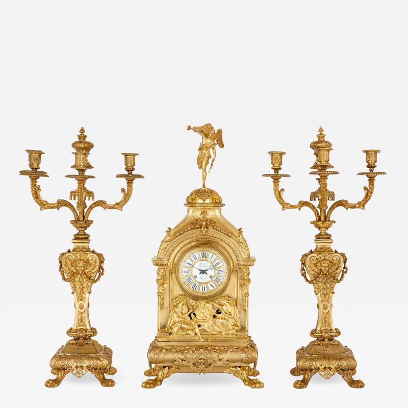 Deni re et Fils Antique Eclectic Style Gilt Bronze Clock Set by Henri Picard and Deni re et Fils