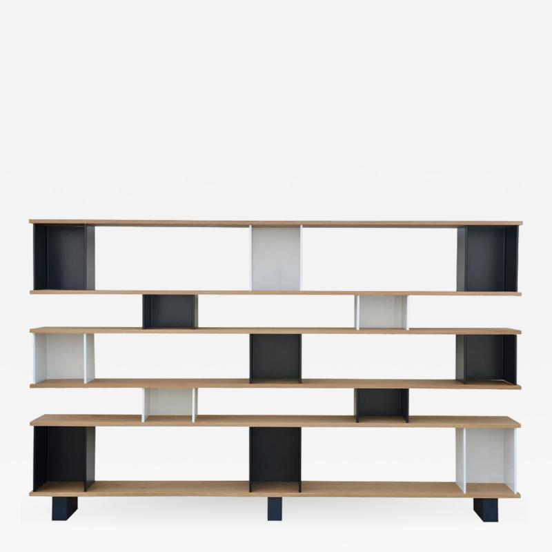Design Fr res Black and White Horizontale Oak Shelving Unit