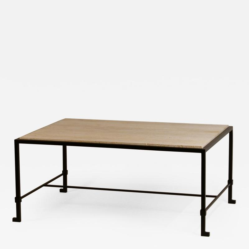 Design Fr res Chic Diagramme Wrought Iron and Travertine Coffee Table