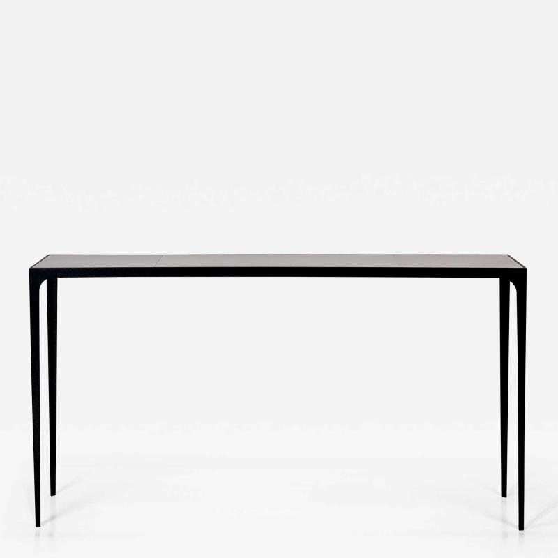 Design Fr res Extra long Esquisse Blackened Iron and Goatskin Console by Design Fr res