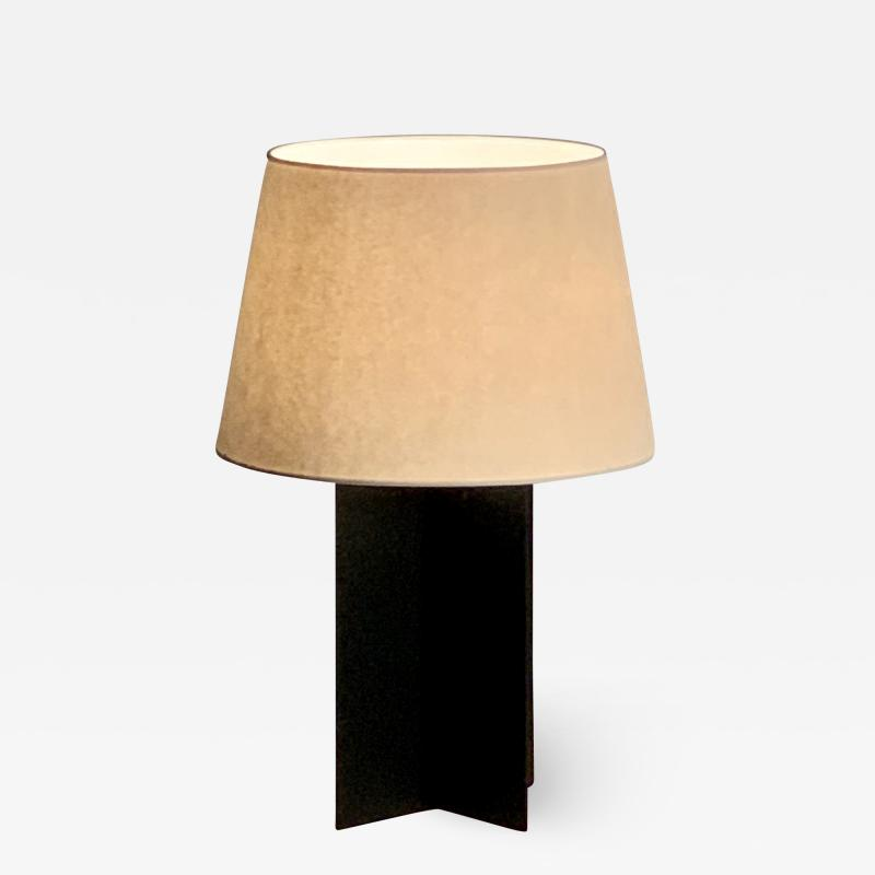 Design Fr res Large Cuatrolados Blackened Steel Lamp with Custom Parchment Shade
