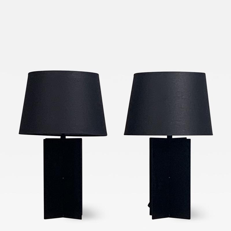 Design Fr res Pair of Blackened Steel and Black Paper Cuatrolados Lamps by Design Fr res