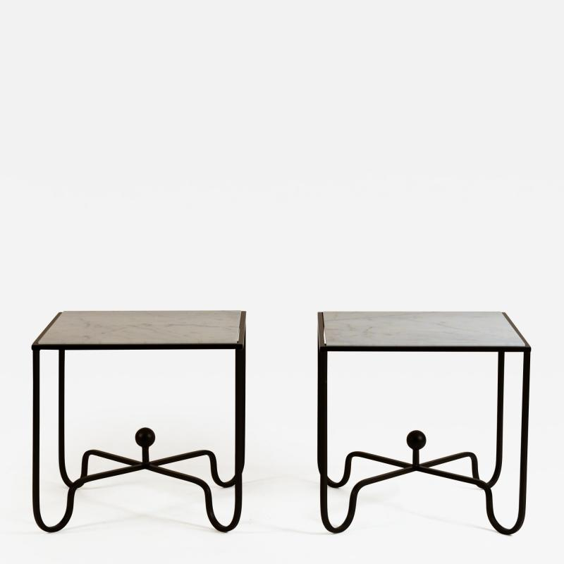 Design Fr res Pair of Entretoise Wrought Iron and Honed Marble Side Tables by Design Fr res