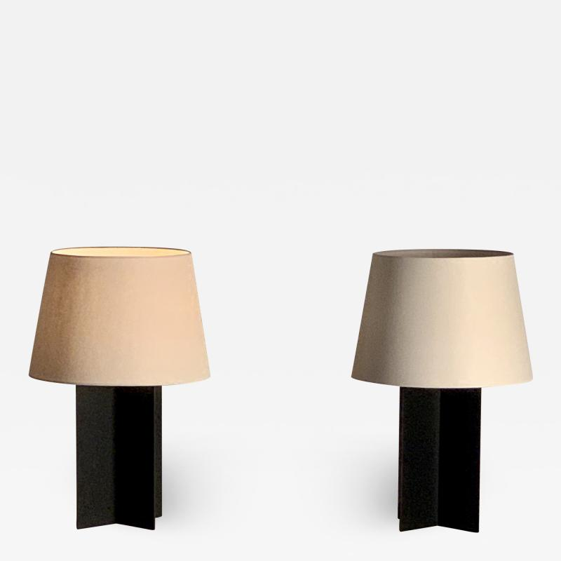 Design Fr res Pair of Large Cuatrolados Blackened Steel Lamps with Custom Parchment Shades