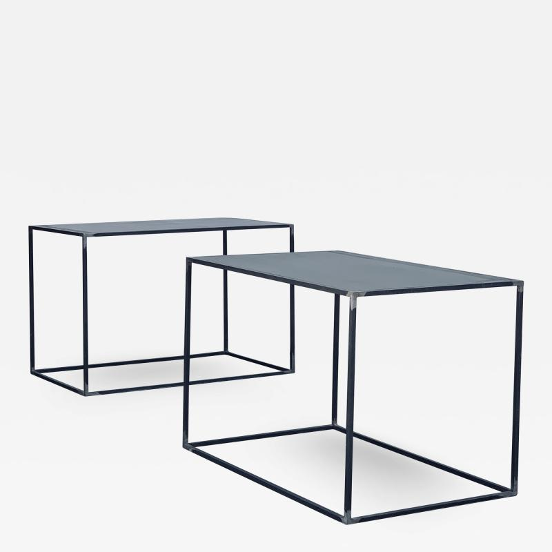 Design Fr res Pair of Large Minimalist Filiforme Patinated Steel End Tables by Design Fr res