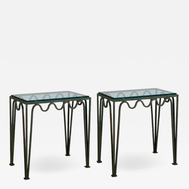 Design Fr res Pair of M andre Verdigris and Glass Night Stands by Design Fr res