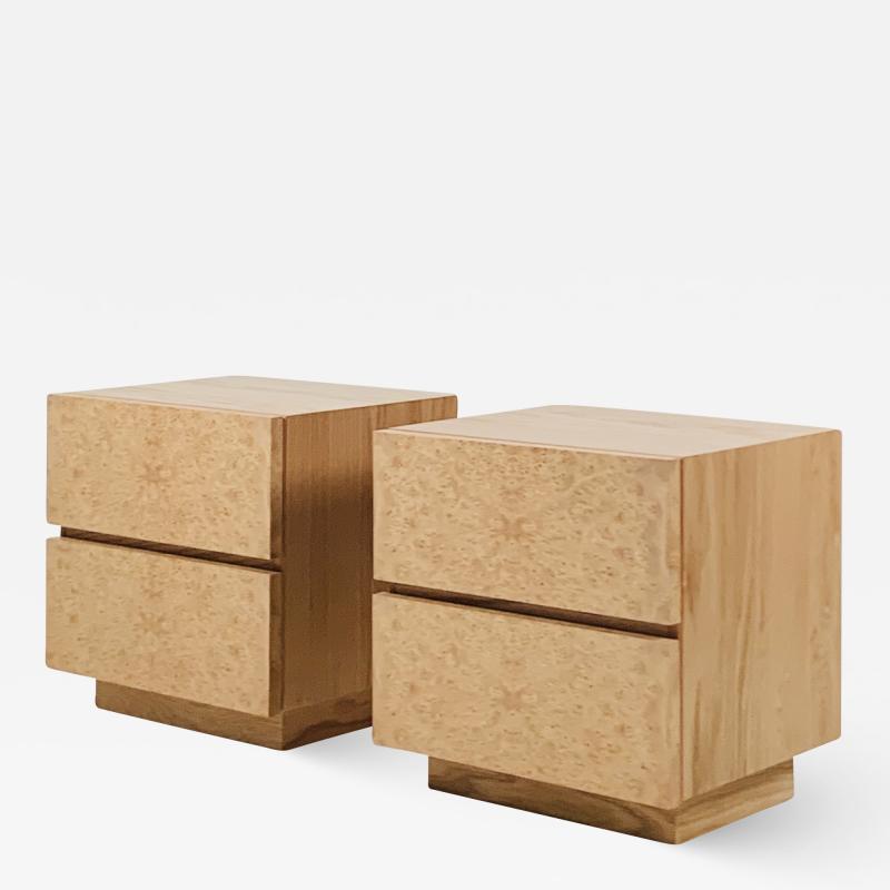 Design Fr res Pair of Minimalist Amboine Burl Wood Nightstands by Design Fr res