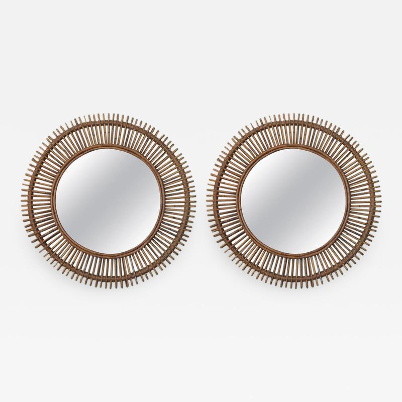 Design Fr res Pair of Oculus Round Rattan Convex Mirrors