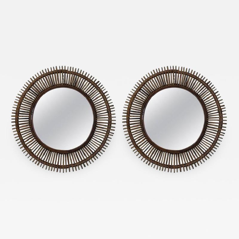 Design Fr res Pair of Oculus Round Rattan Mirrors