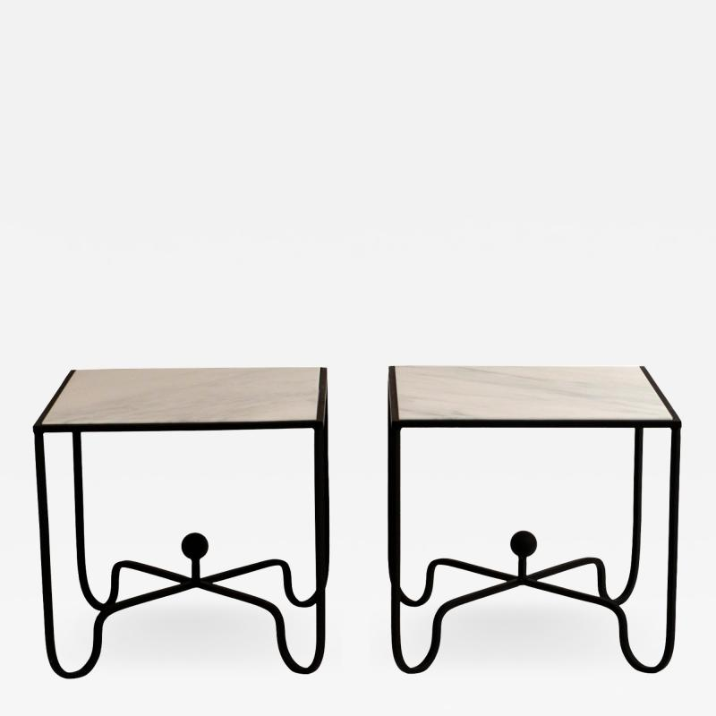 Design Fr res Pair of Wrought Iron and Marble Entretoise Side Tables by Design Fr res