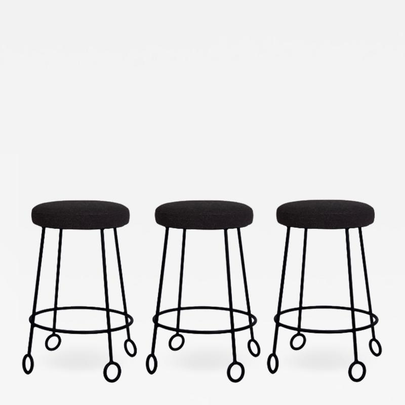 Design Fr res Set of 3 Chic Wrought Iron and Boucle Counter Stools