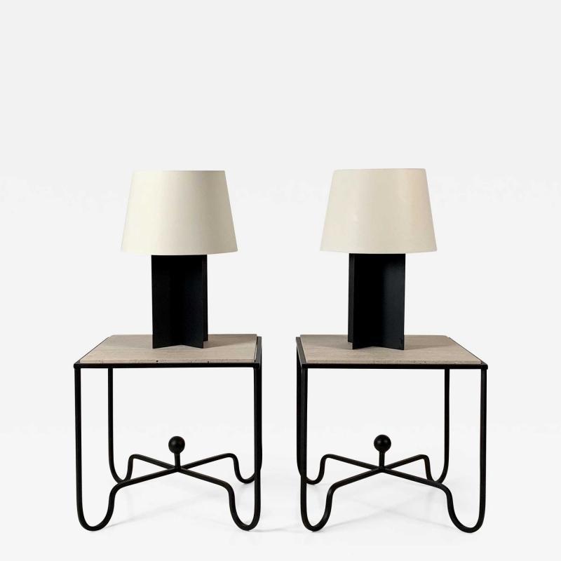Design Fr res Set of Large Croisillon Matte Black Lamps and Entretoise Travertine Tables