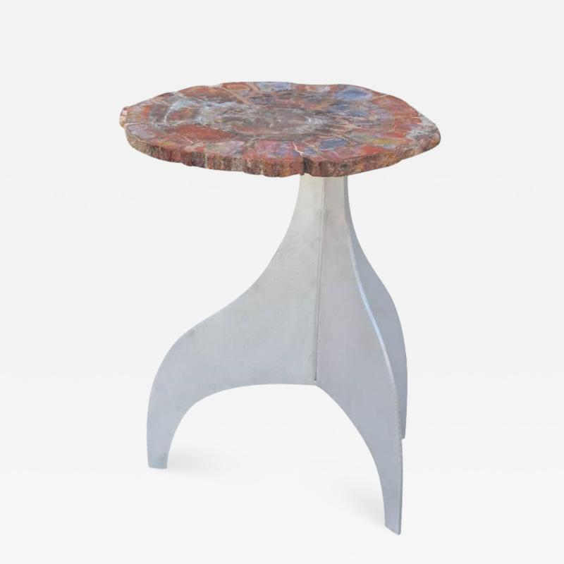 Design Fr res Seve Petrified Wood and Aluminium Side Table by Design Fr res