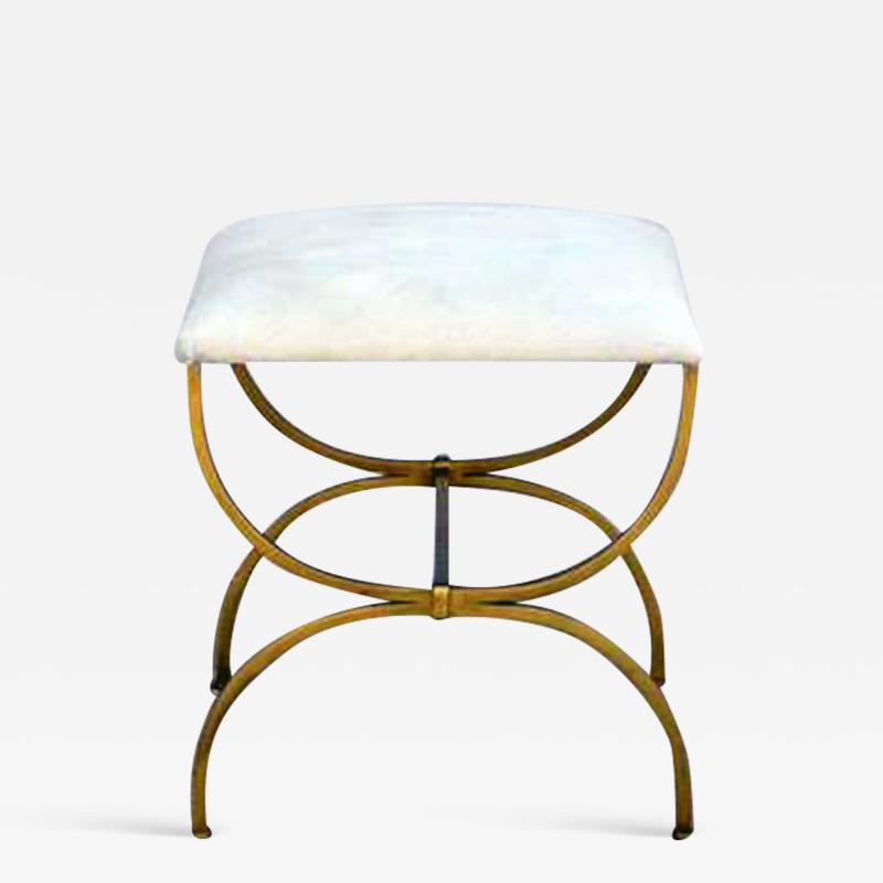 Design Fr res The Strapontin Gilt Metal and White Hide Stool by Design Fr res