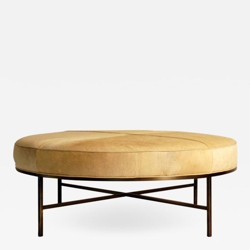 Design Fr res The Tambour Natural Hide and Brass Ottoman