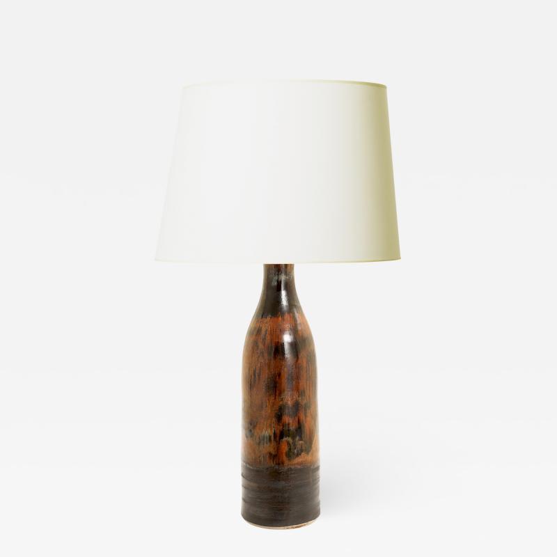 Designhuset Dramatic Copper Luster Black Glazed Lamp by C H Stalhane