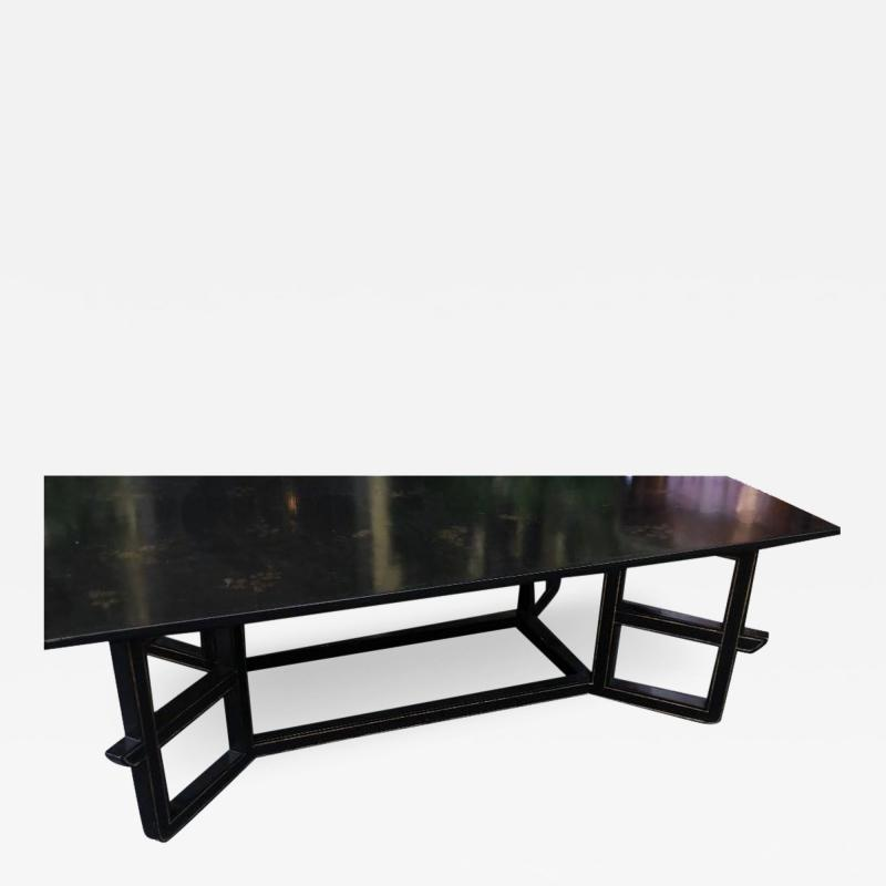 Dessin Fournir Companies Charles Fradin for Dessin Fournir Black Lacquer Decorated Coffee Table