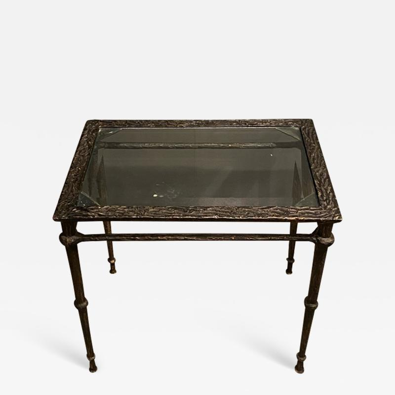 Diego Giacometti BRONZE DIEGO GIACOMETTI STYLE BRUTALIST SIDE TABLE