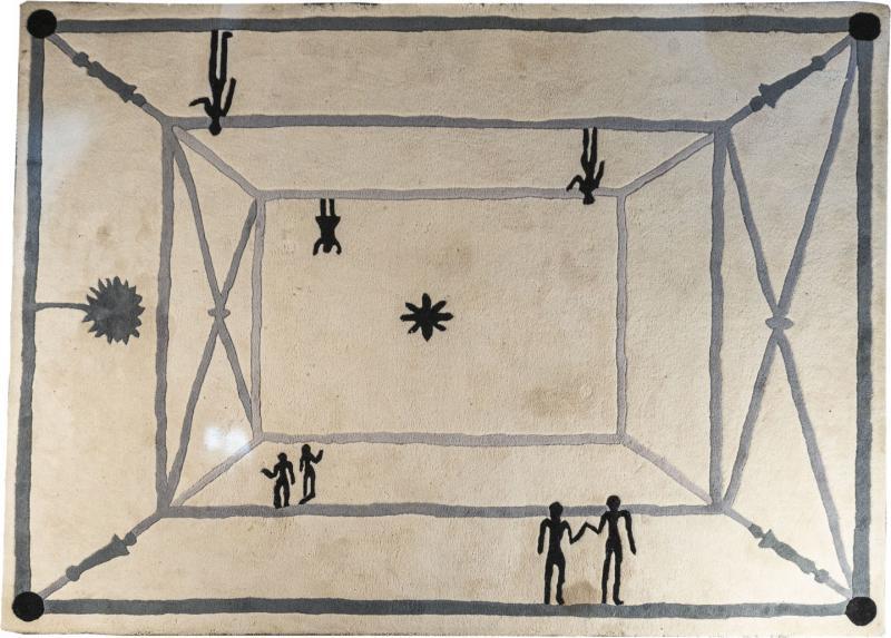 Diego Giacometti Diego Giacometti Carpet La Rencontre Signed circa 1984 France