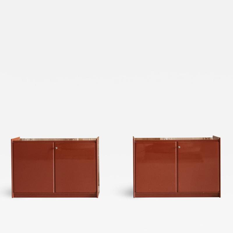 Dino Gavina Studio Simon Pair of Lacquered Cabinets Attributed to Dino Gavina