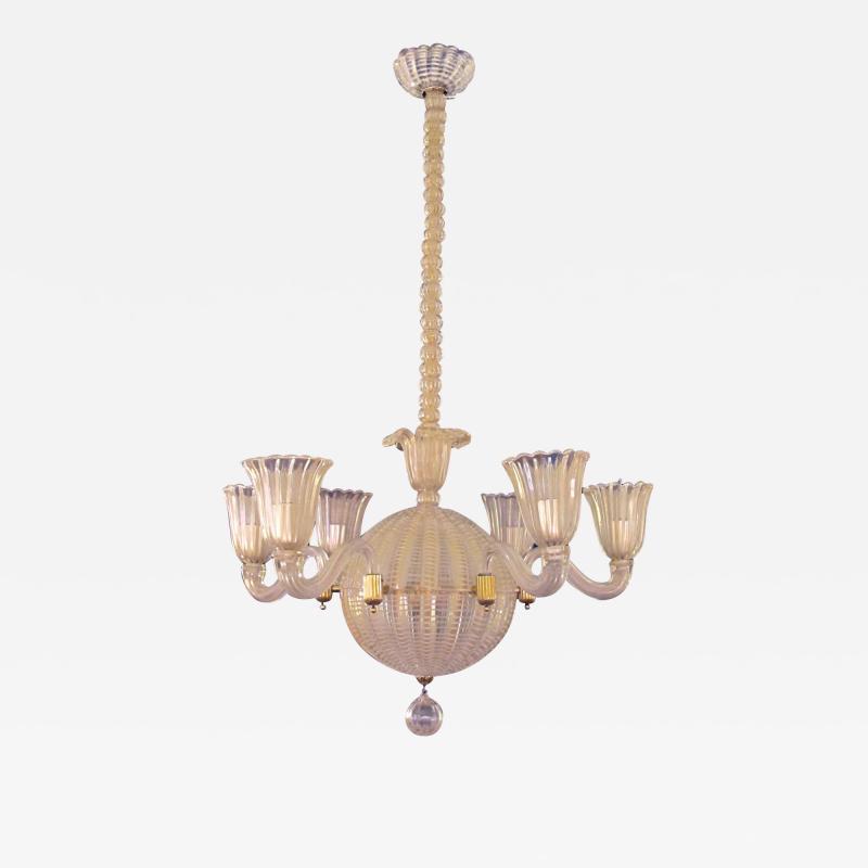 Dino Martens A good quality Murano 6 light spheroid chandelier by Dino Martens
