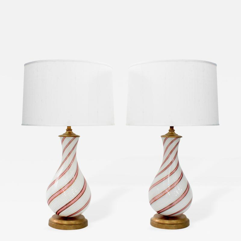 Dino Martens Pair of Hand Blown Glass Table Lamps by Dino Martens