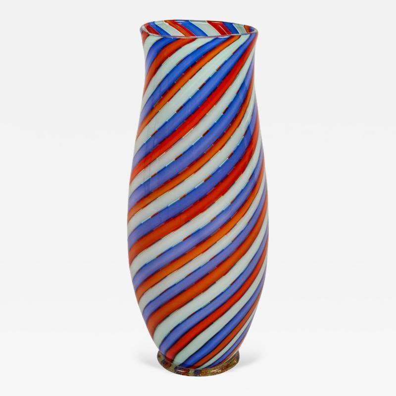 Dino Martens Striking Italian Ribbon Glass Vase by Dino Martens for Aureliano Toso