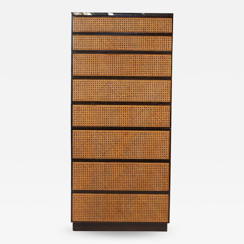 Directional Directional Chest of Drawers in Basket Weave Cane and Mahogany with Marble Top