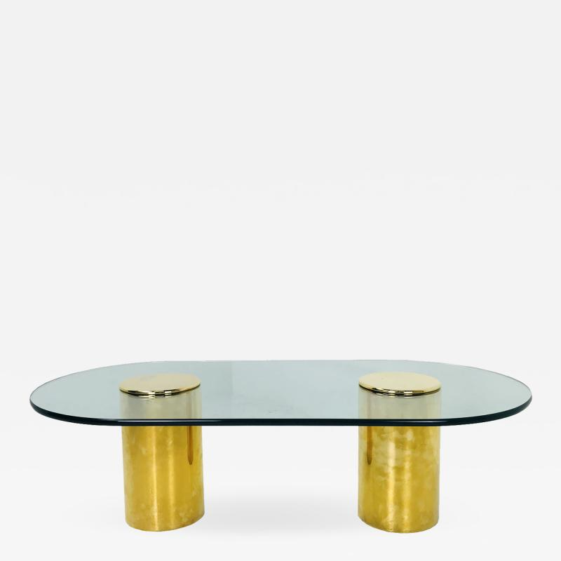 Directional Double Brass Pedestals Coffee Table by Directional