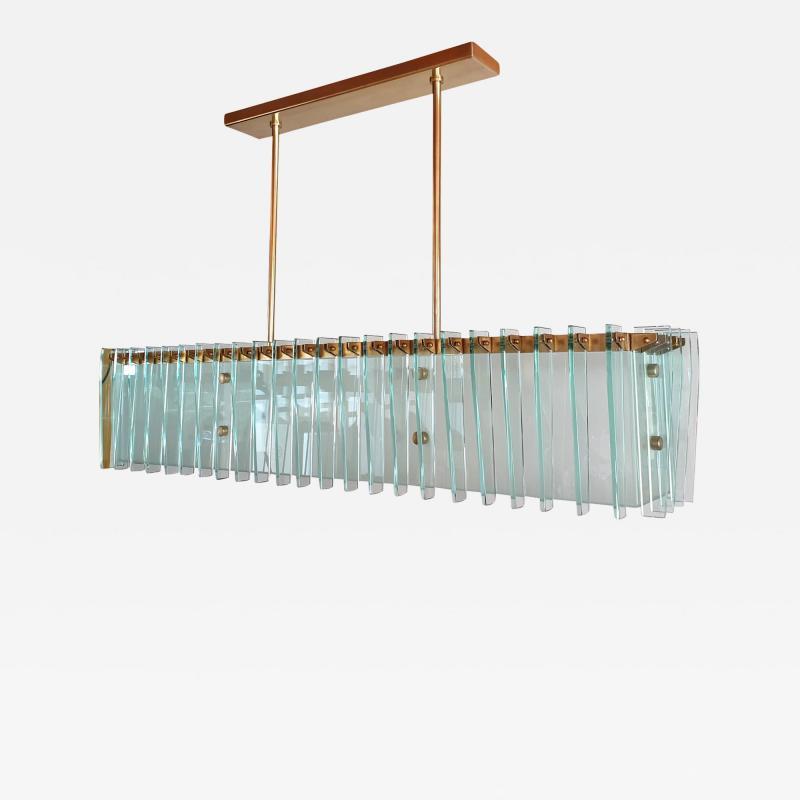 Dominici Large rectangular Mid Century Modern glass brass chandelier by Dominici Brazil