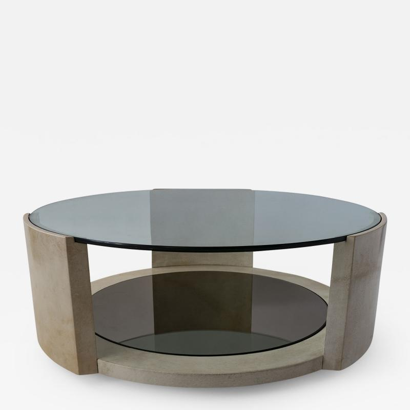 Dominique French Modern Parchment and Glass Coffee Table
