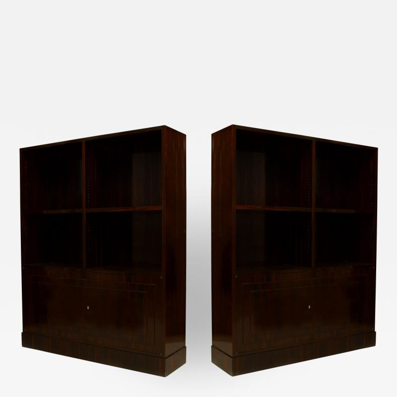 Dominique Pair of French Art Deco Calamander Wood Bookcase Cabinets