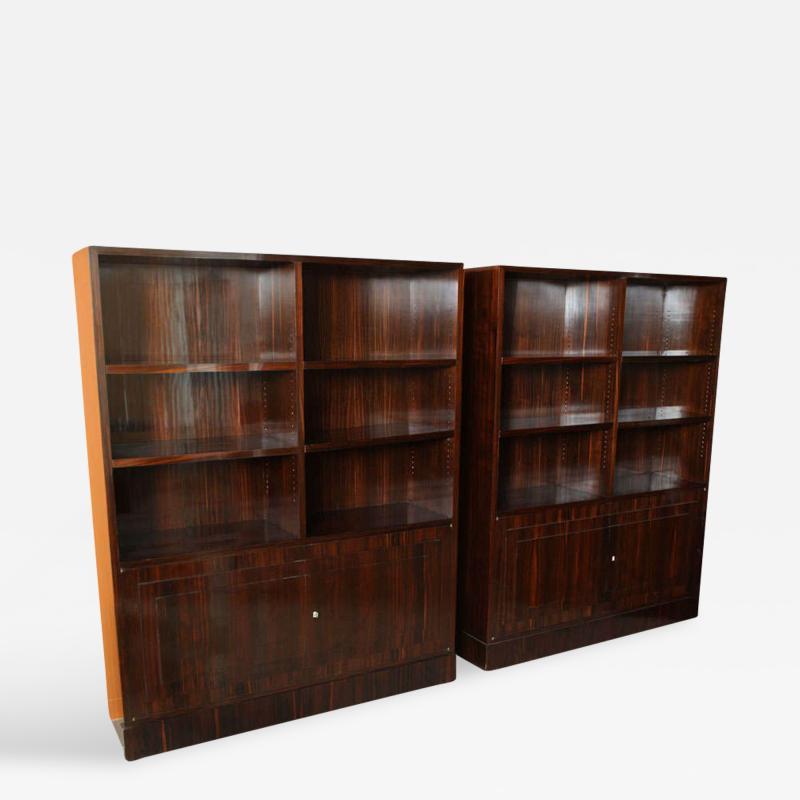 Dominique Pair of French Late Art Deco Ebony de Macassar Bookcase Cabinets by Dominique