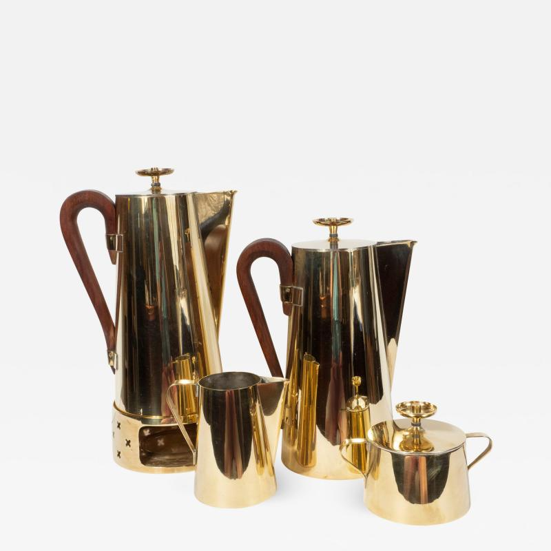Dorlyn Silversmiths Tommi Parzinger for Dorlyn Silversmiths Coffee Tea Service in Brass and Walnut