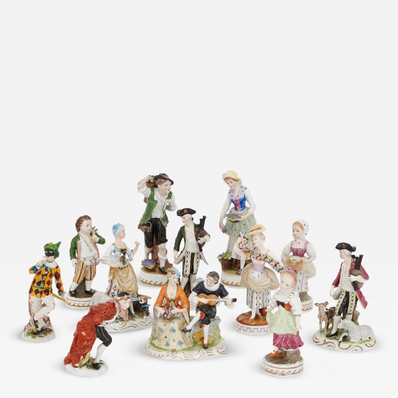 Dresden Porcelain Set of twelve Dresden porcelain figures and groups