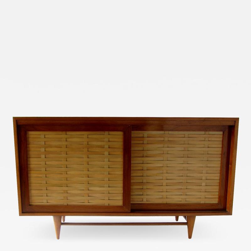 Dunbar American Modern Walnut and Birch 2 Door Woven Front Cabinet Dunbar