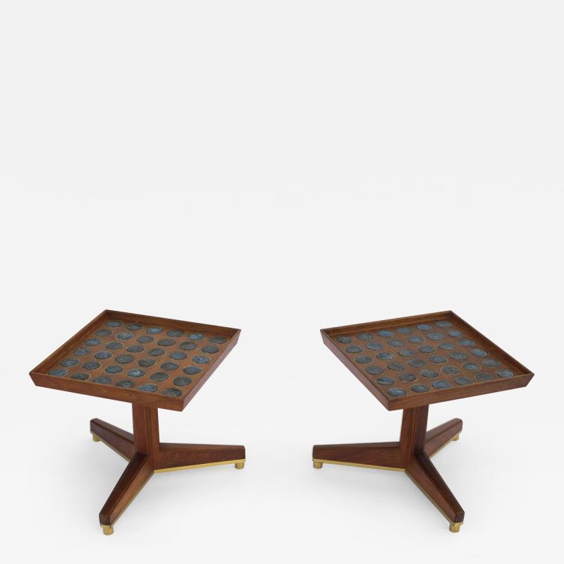 Dunbar Edward Wormley Janus Occasional Tables with Natzler Tiles for Dunbar in Walnut
