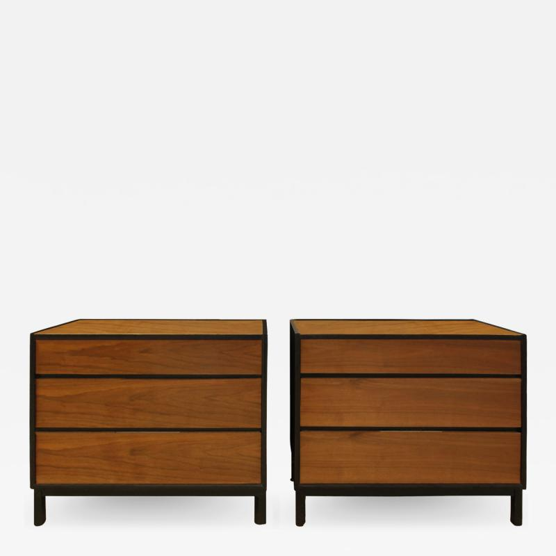Dunbar Edward Wormley Pair of Bedside Tables Chests in Teak and Mahogany 1950s signed