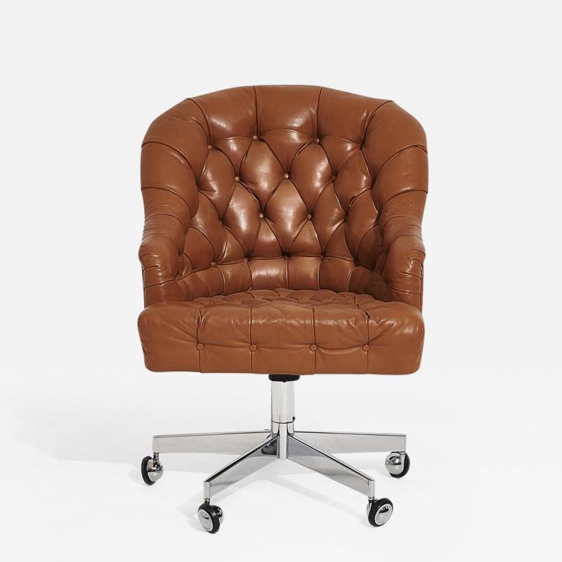 Dunbar Edward Wormley for Dunbar Tufted Brown Leather Desk Chair